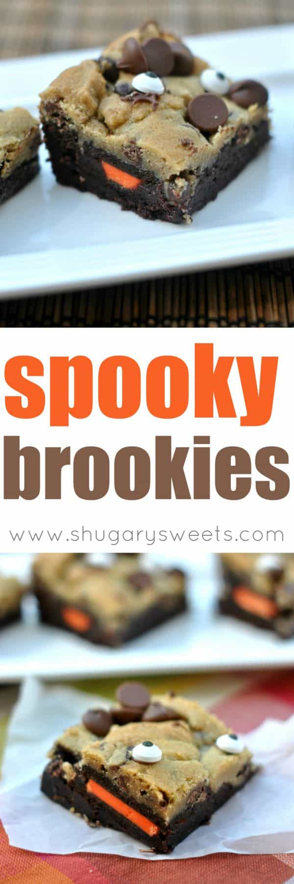 A rich fudgy layer of Brownies topped with Halloween Oreos and Chocolate Chip cookie dough. Ever feel like somebody's watching you??