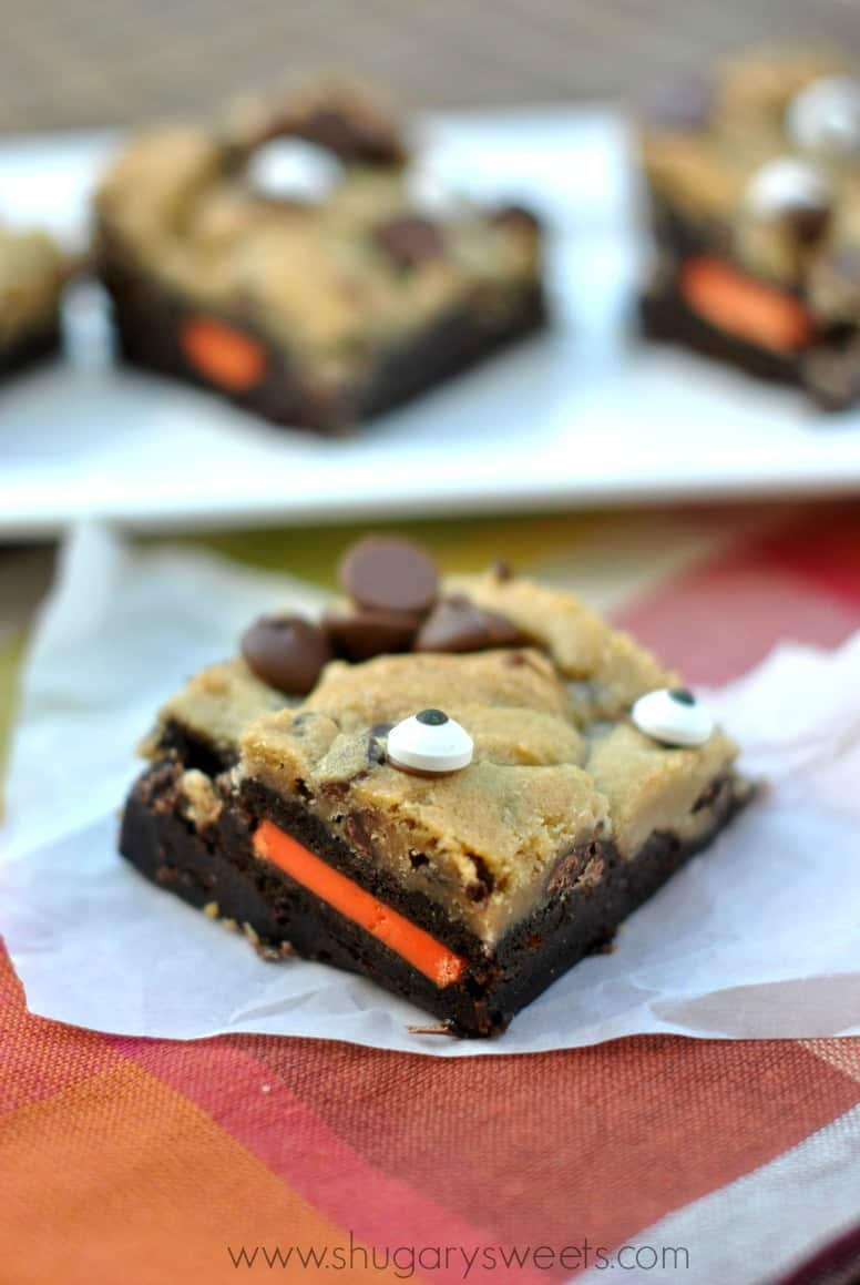 "Spooky Brookies: layer of brownies with Halloween oreos, chocolate chip cookie dough and edible ""eyes"""