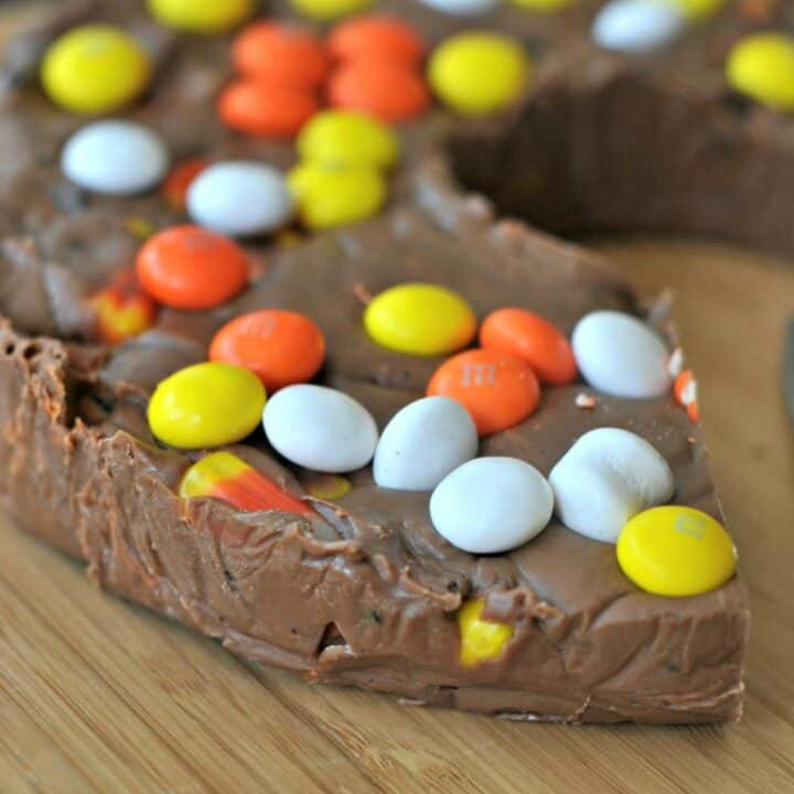 Halloween fudge with candy corn, oreos, and m&m's.