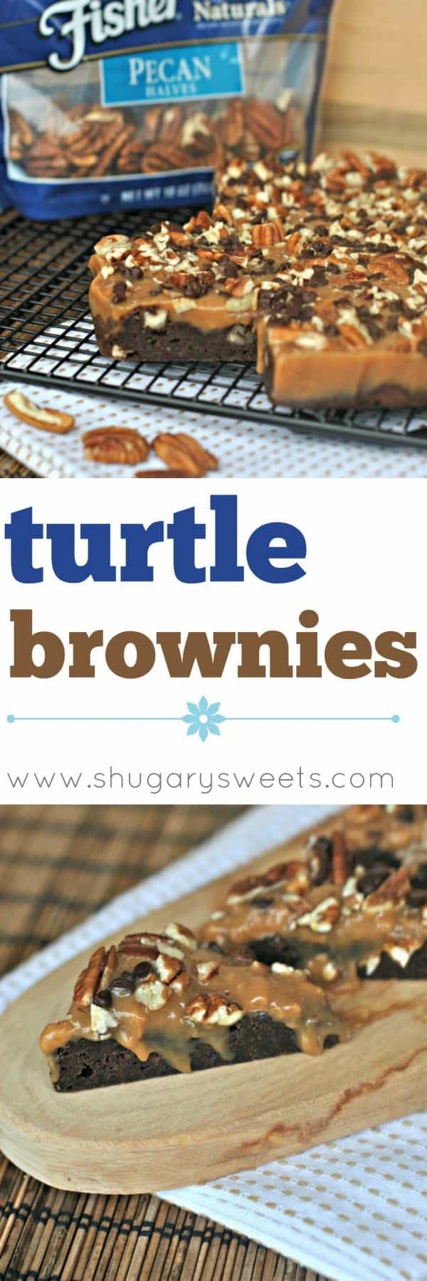 Homemade Browniestopped withgooey caramel, chocolate chips and Fisher Pecans. A decadent dessert!