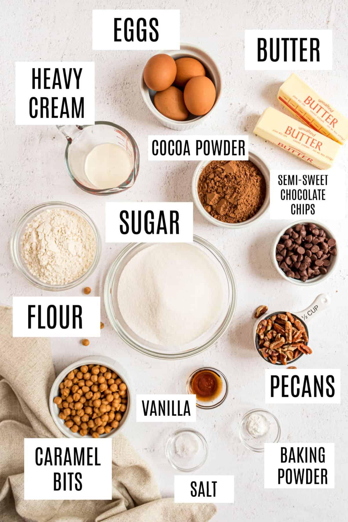 Ingredients needed to make turtle brownies.