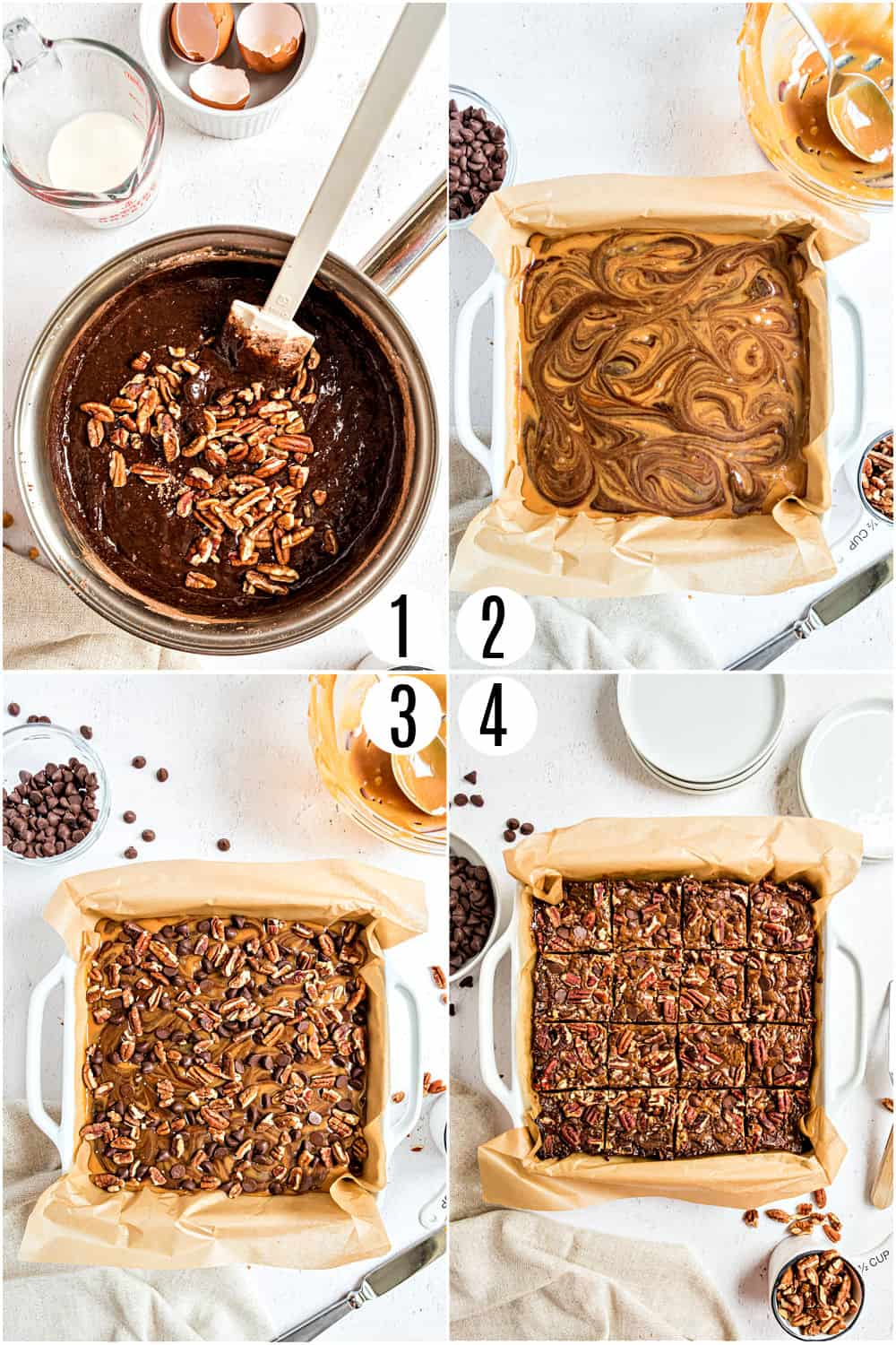 Step by step photos showing how to make turtle brownies.