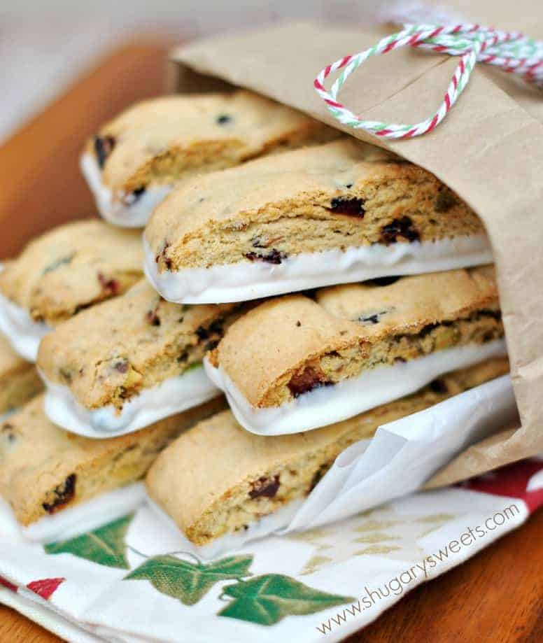 Cranberry Pistachio Biscotti - Shugary Sweets