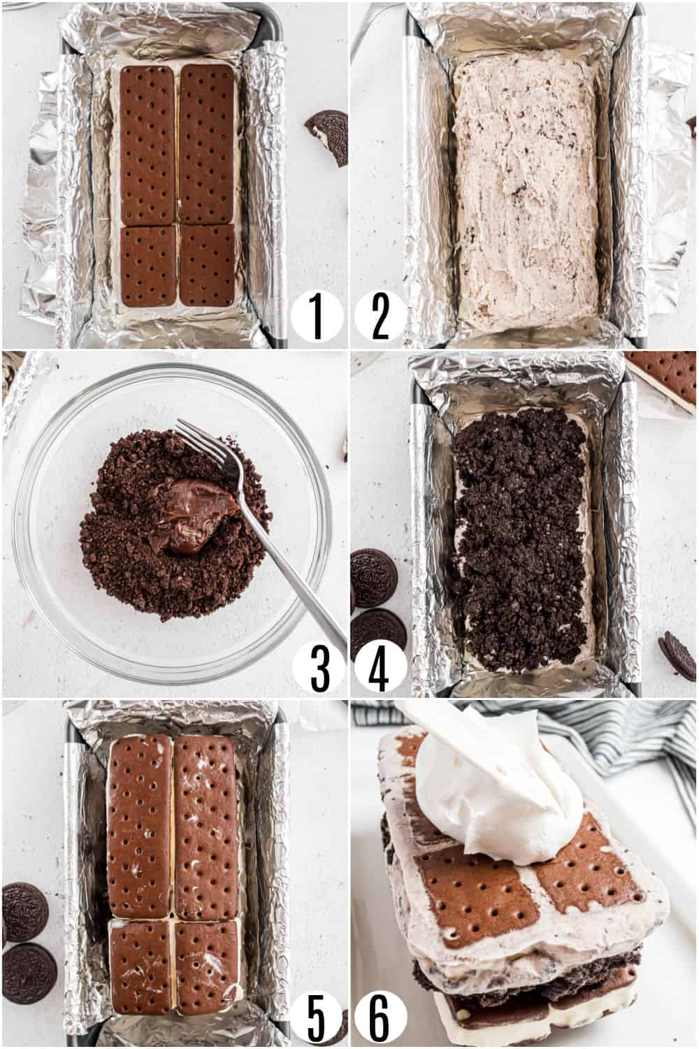 Step by step photos showing how to make oreo ice cream cake.
