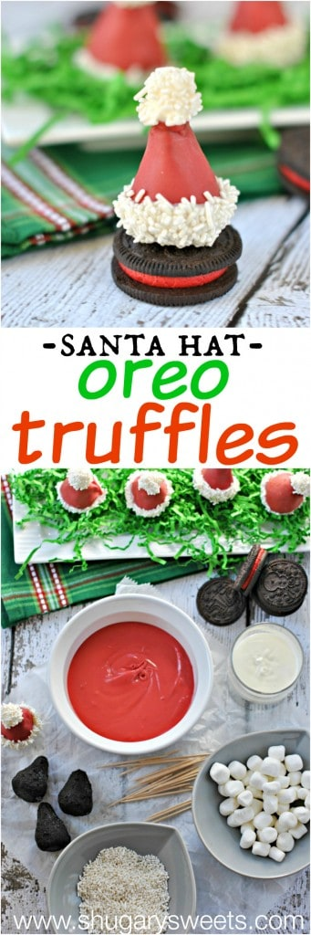 Santa Hat OREO cookie balls: spread some holiday cheer with this easy recipe! #cookieballs