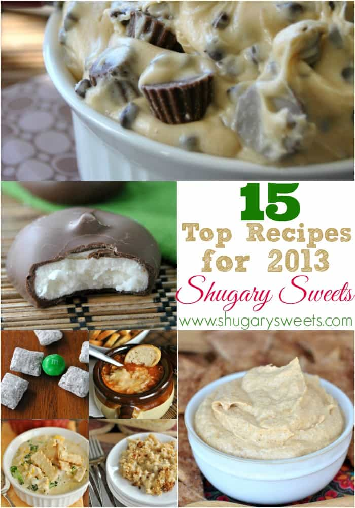 Best recipes from 2013 including Reese's Dip, homemade peppermint patties, gouda mac and cheese and MUCH MORE!!