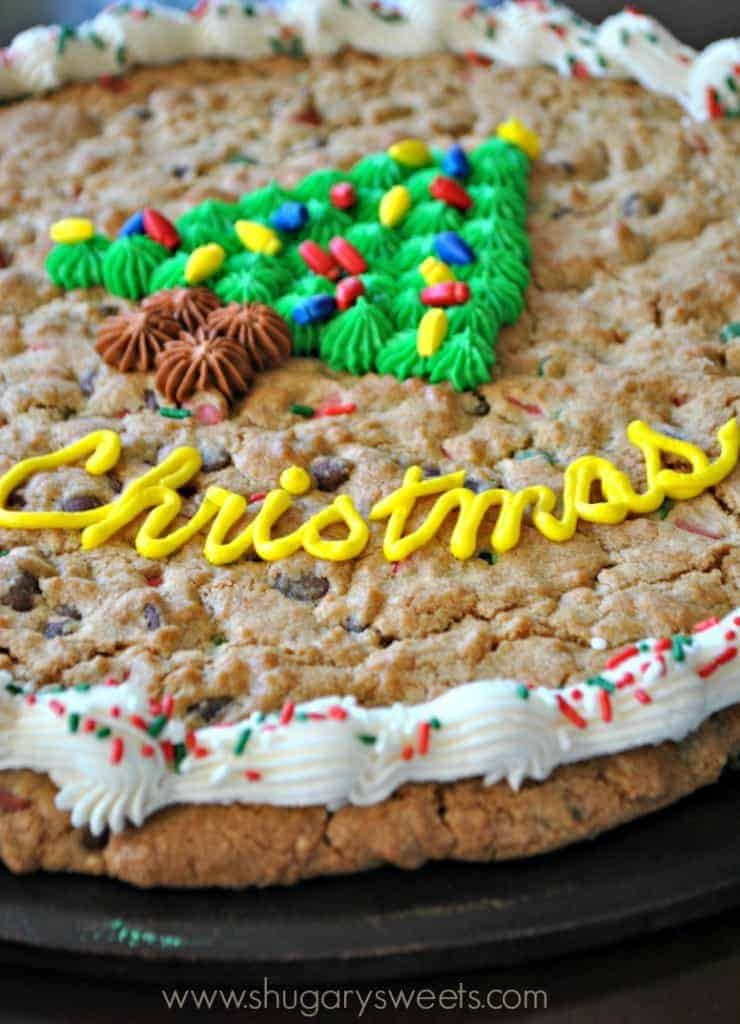 Chocolate Chip Christmas Cookie Cake recipe