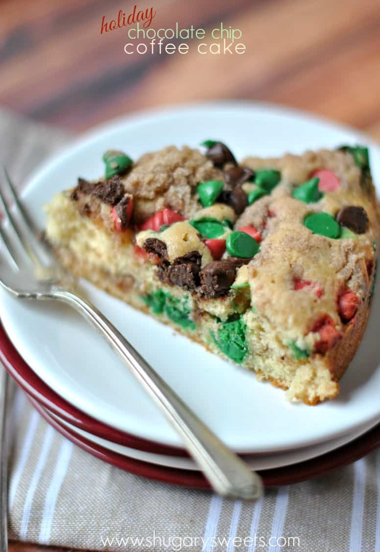 Chocolate Chip Coffee Cake recipe with Cinnamon swirl, red and green chocolate chips.