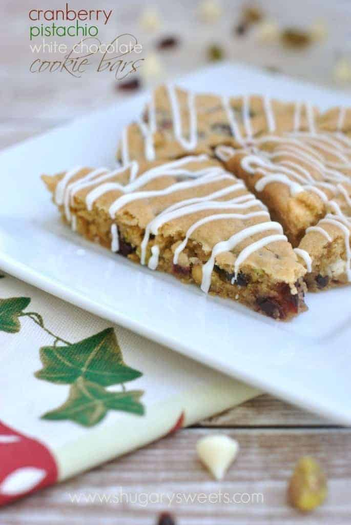 Cranberry Pistachio White Chocolate cookie bar recipe