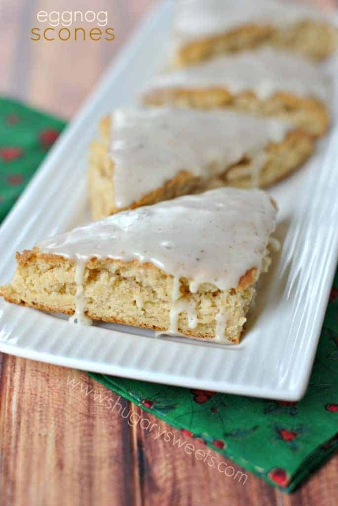 Eggnog Scones: a delicious holiday breakfast. Don't forget the melt in your mouth eggnog glaze!