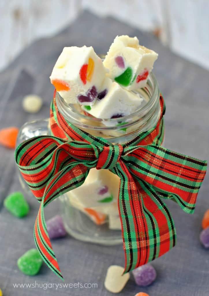 Gumdrop Fudge- soft vanilla fudge filled with colorful chewy, fruity Gumdrops