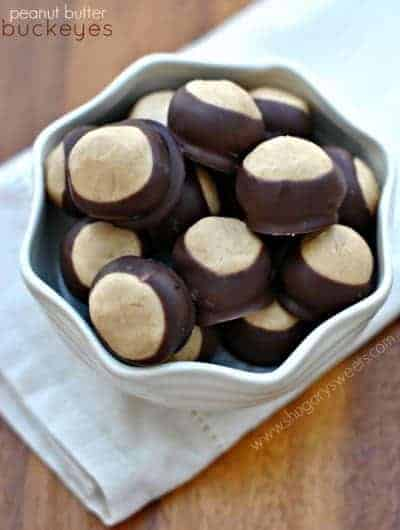 Classic candy from Ohio. Peanut Butter Buckeyes. Soft peanut butter filling dipped in chocolate! Be sure to make a batch for you next party!
