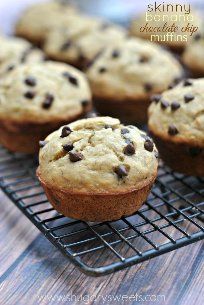 Skinny Banana Chocolate Chip Muffins - Shugary Sweets