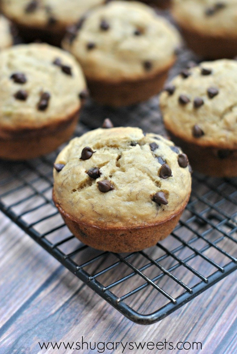 Skinny Banana Chocolate Chip Muffins are delicious and flavorful ...