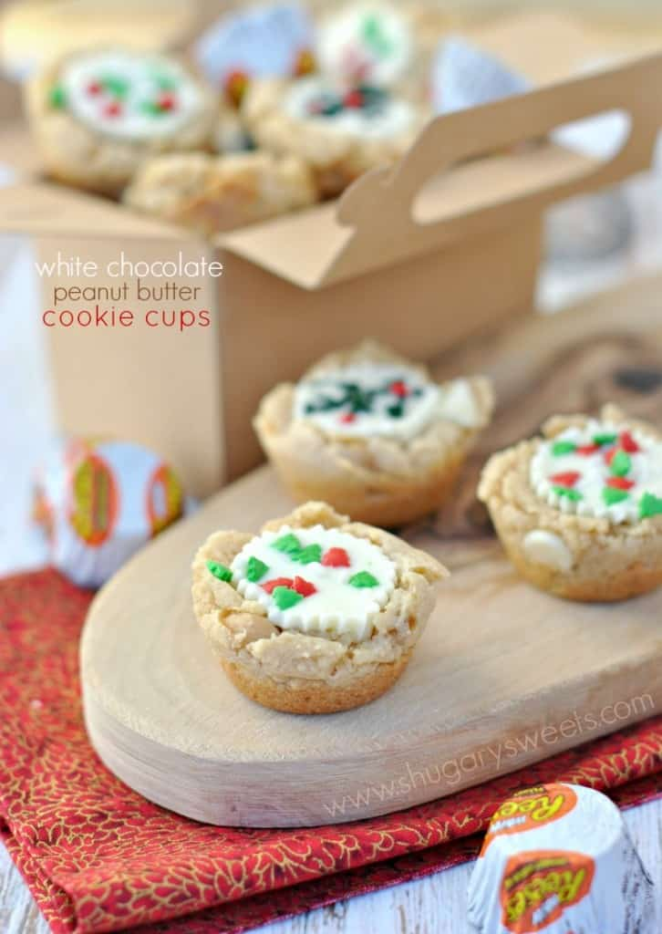White Chocolate Peanut Butter Cookie cups with a Reese's and sprinkles!