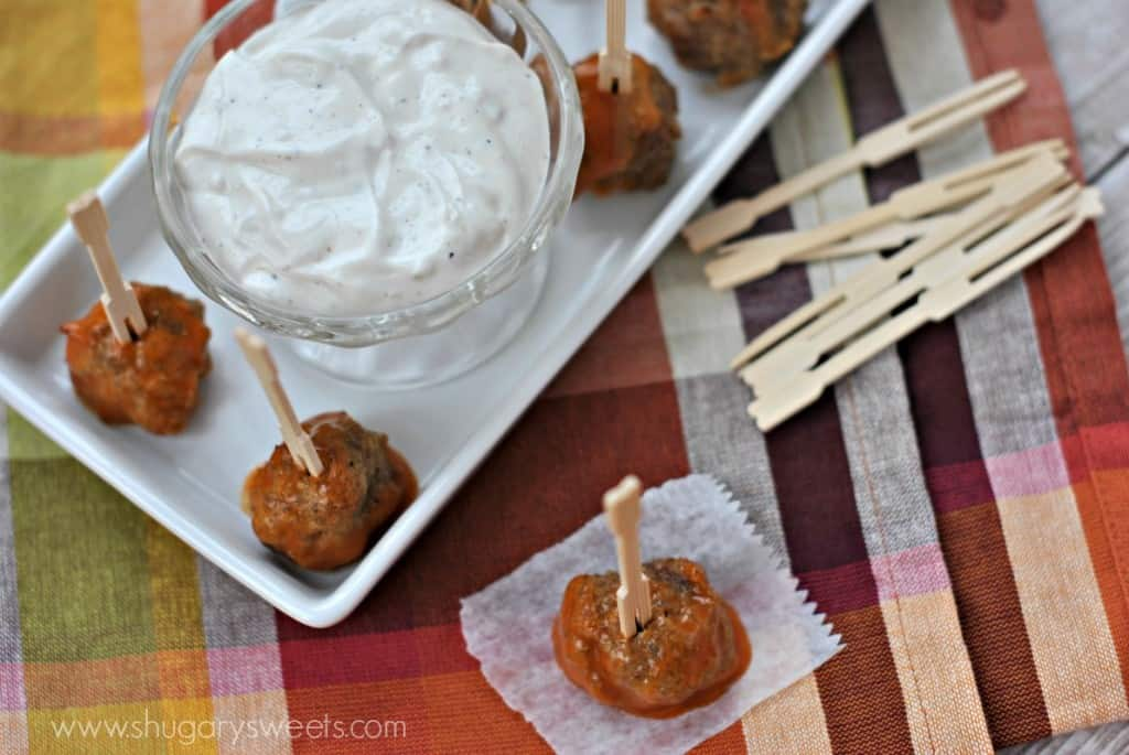 Buffalo Wing Meatballs with Homemade Blue Cheese Dressing: a healthy version of a delicious snack food!