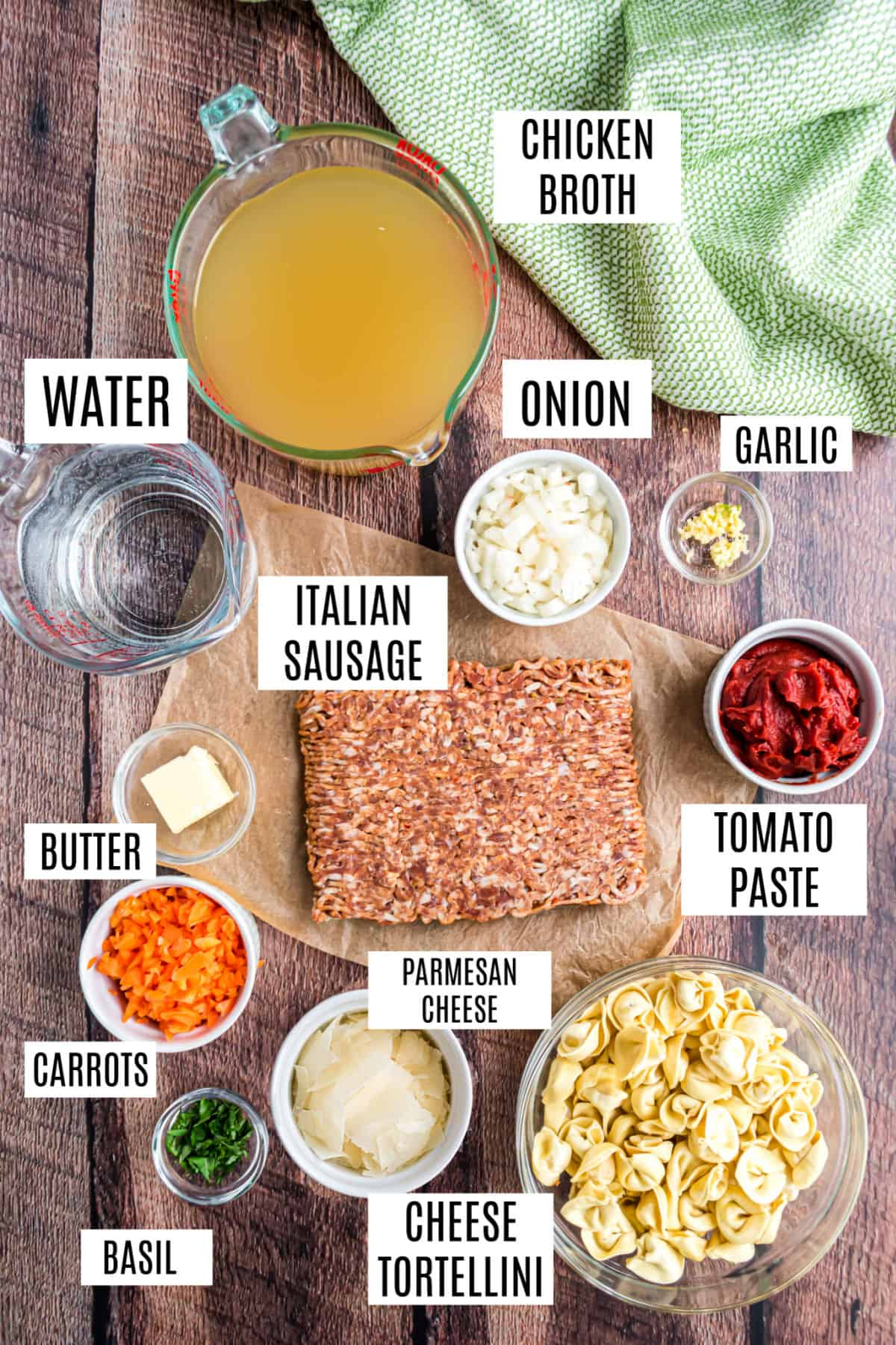 Ingredients needed for sausage tortellini soup.