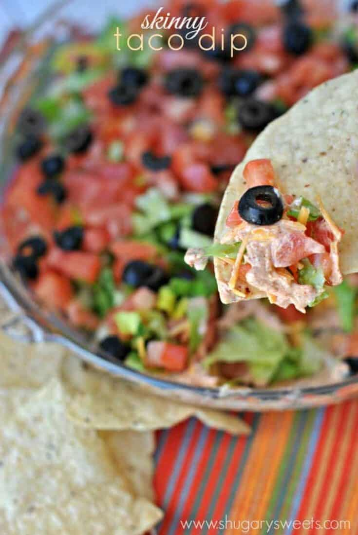 Easy, Healthy Taco Dip recipe using greek yogurt!