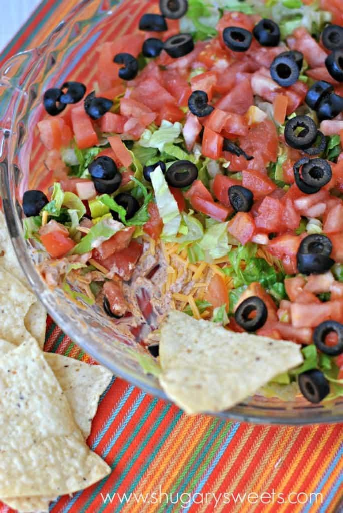 Skinny Taco Dip recipe made with Greek Yogurt