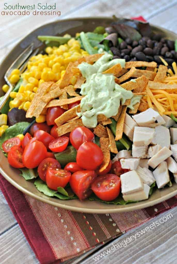 Southwest Chicken Salad with Avocado Dressing - Shugary Sweets
