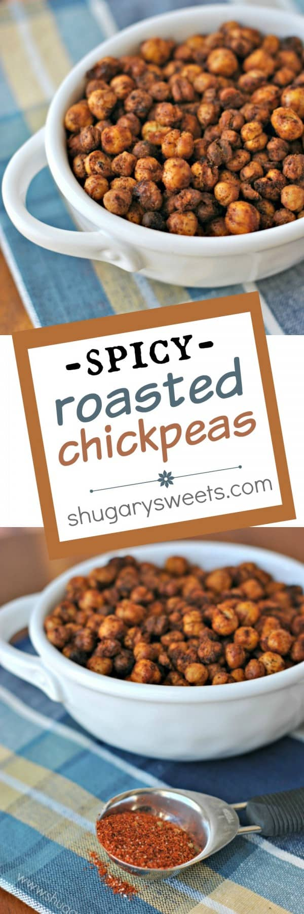 Crunchy, taco seasoned Spicy Roasted Chickpeas make a great snack idea! Full of fiber which keeps you satisfied longer!