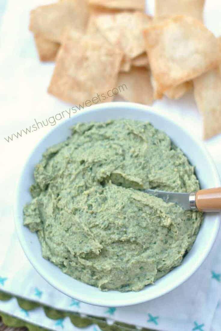Delicious, flavorful Spinach Artichoke Hummus recipe