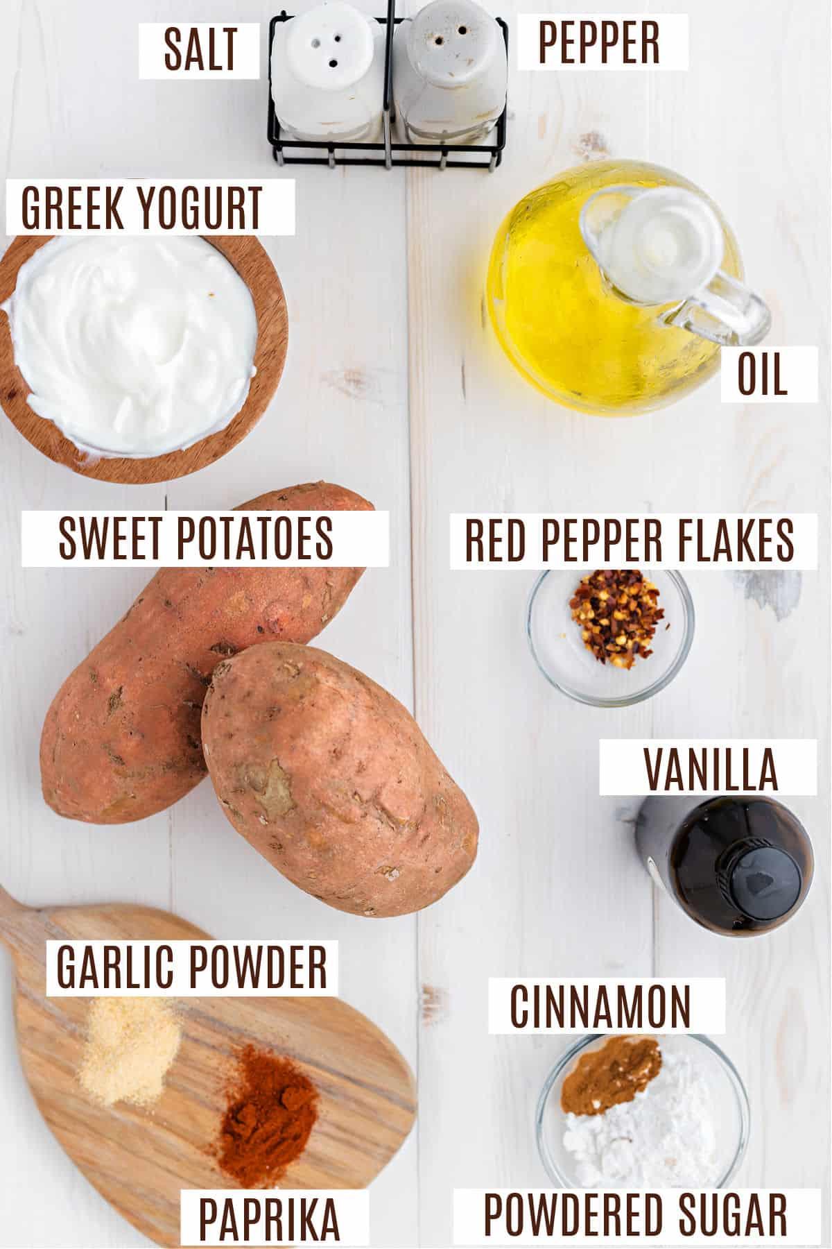 Ingredients needed to make homemade sweet potato fries.