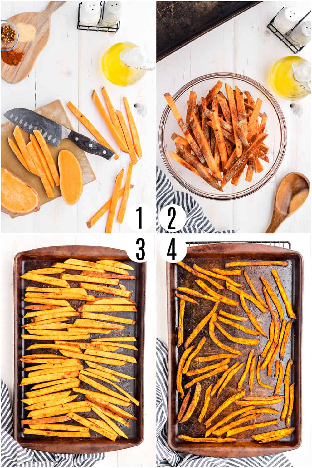 Step by step photos showing how to make sweet potato french fries.