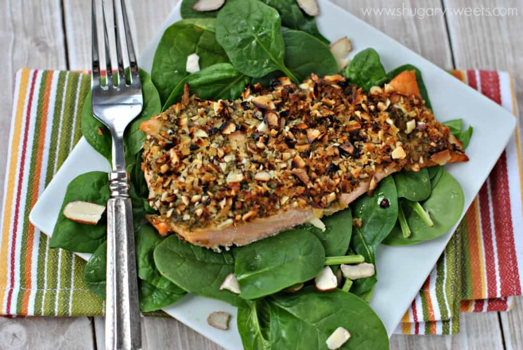 Filet of Salmon with Almonds and Pesto