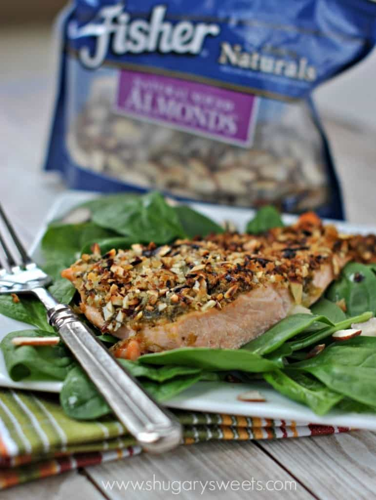 Baked Almond Pesto Salmon with Fisher's Nuts Almonds