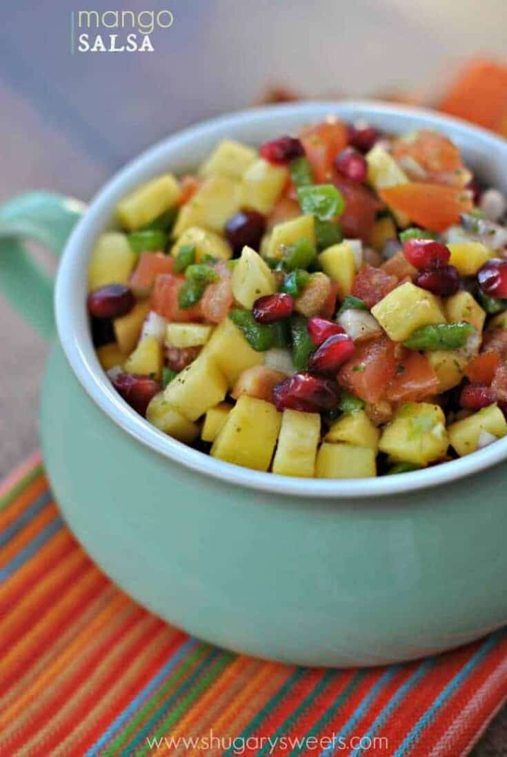 Fresh and colorful, this homemade Mango Salsa is sure to be a hit, whether on taco night or on top of fish and chicken!