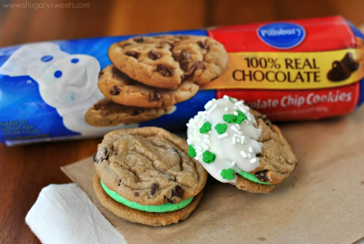Mint Chocolate Chip Cookie Sandwiches - Shugary Sweets