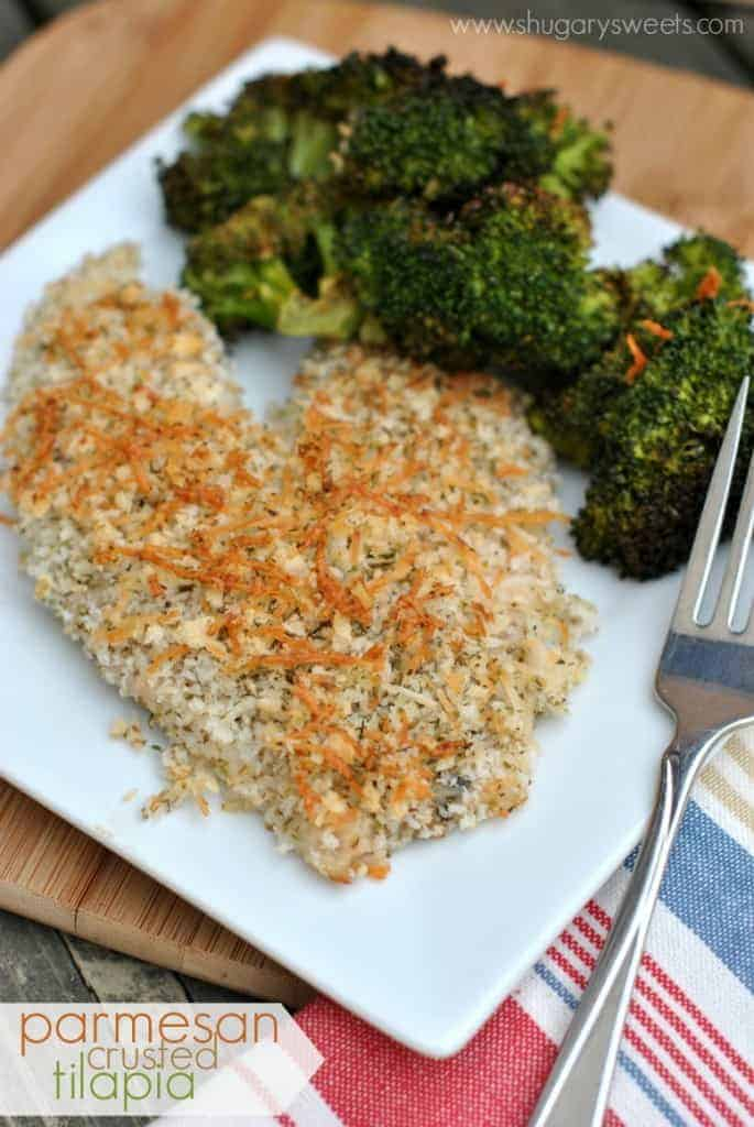 Parmesan Crusted Tilapia: an easy, healthy dinner idea!