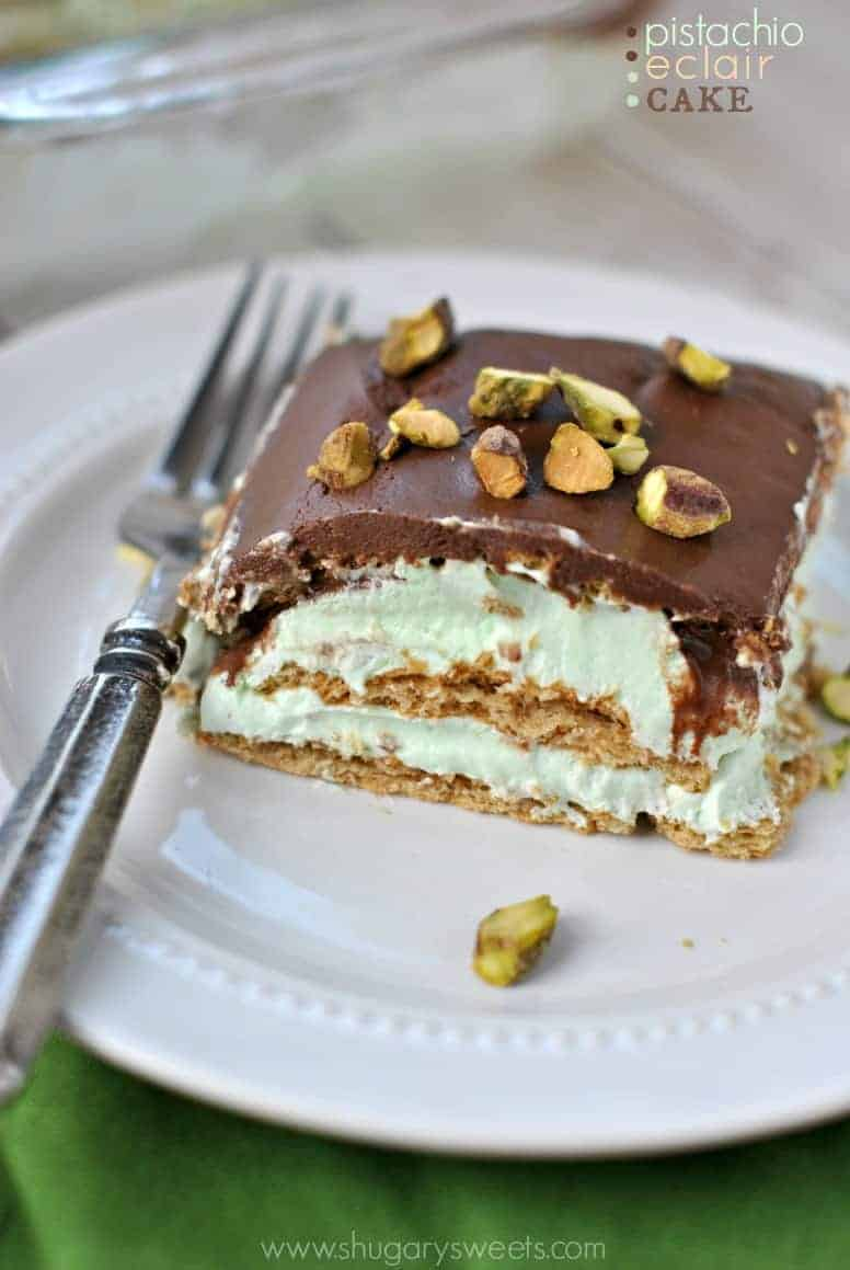 Pistachio Eclair Cake - Shugary Sweets