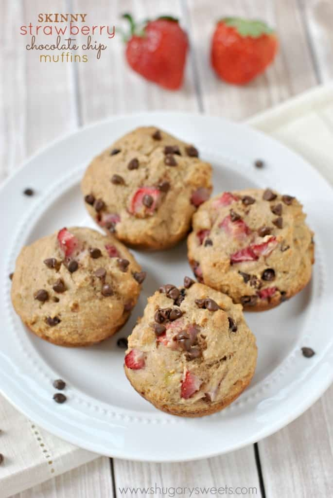 Skinny Strawberry Chocolate Chip Muffins