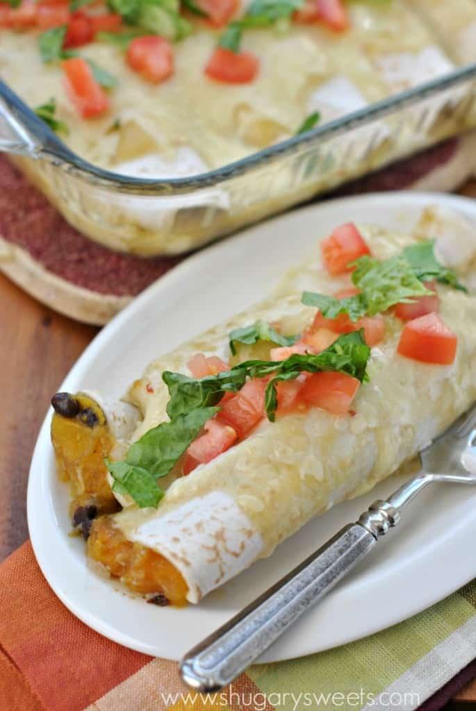 Butternut Squash Black Bean Enchiladas...delicious vegetarian dinner idea full of flavor, even the meat eaters will love it