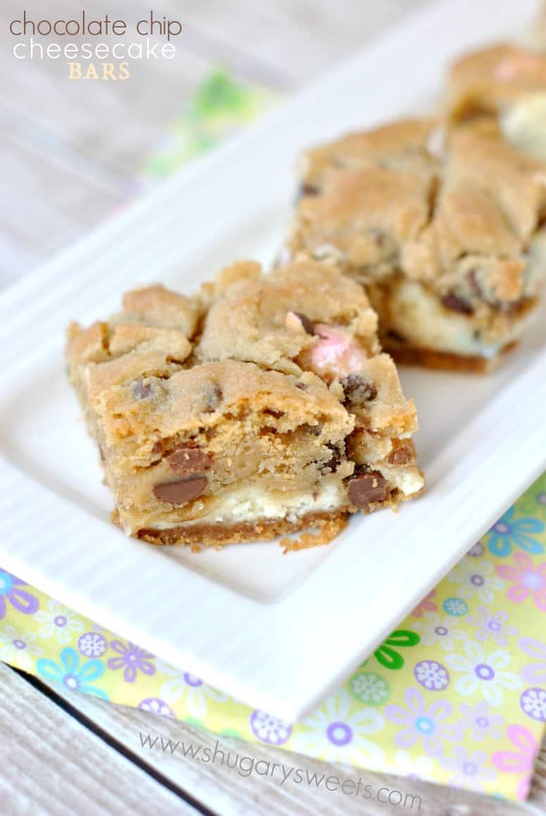 Chocolate Chip Cheesecake Bars - Shugary Sweets