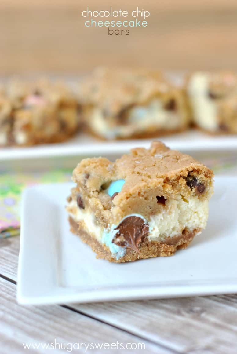 Chocolate Chip Cheesecake Bars with a graham cracker base, creamy ...