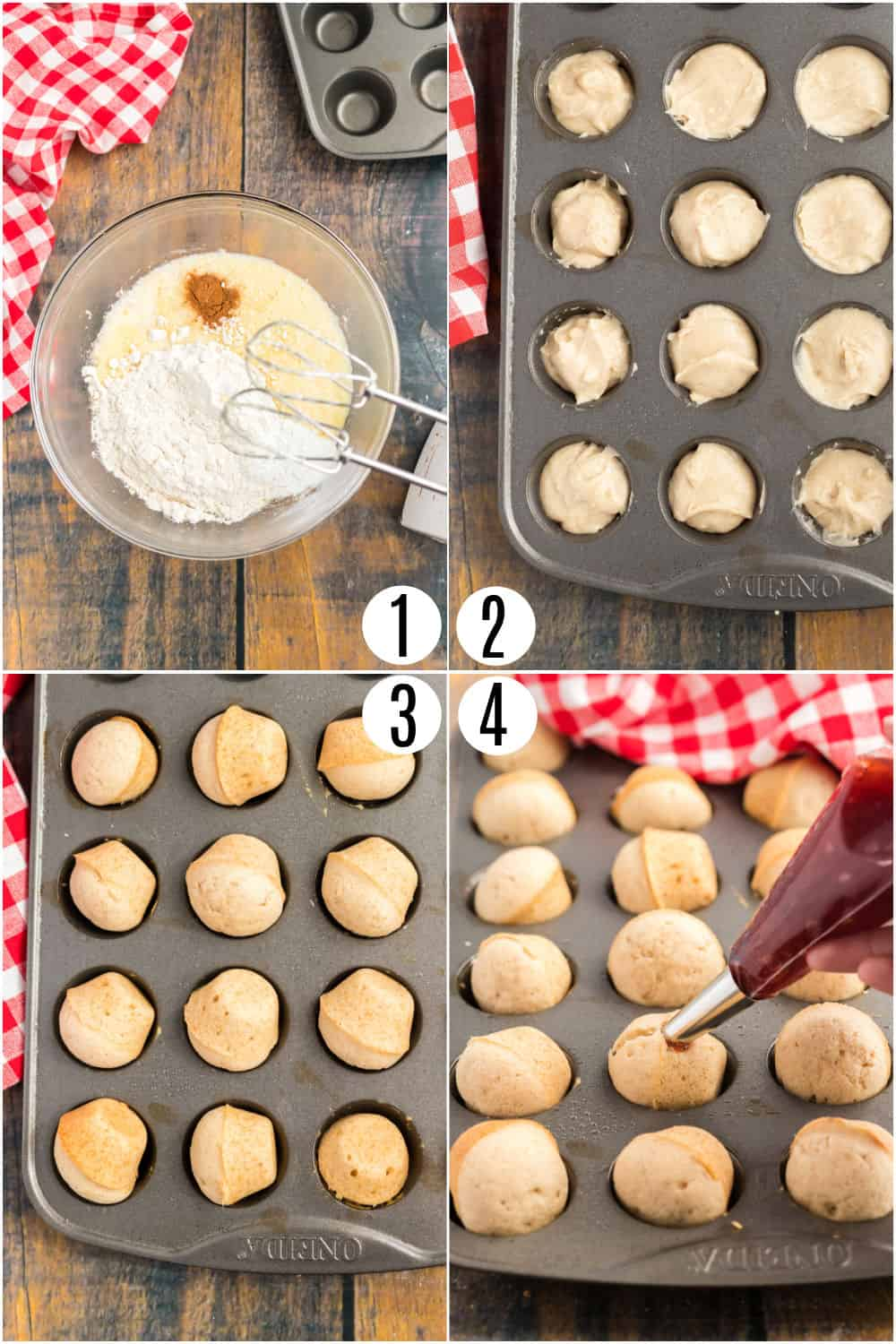 Step by step photos to make jelly filled donut holes.