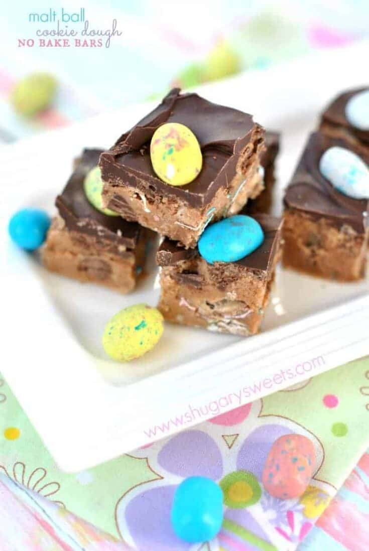 Easy, no bake cookie dough bars packed with malt ball flavor!