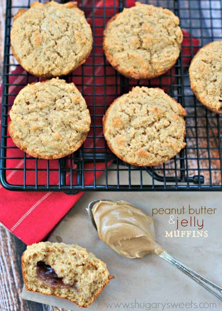 Peanut Butter and Jelly Muffins, the perfect breakfast, lunch, or ...