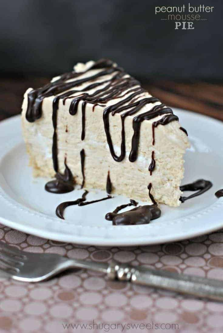 Using a Pillsbury pie crust as the base, this rich and delicious Peanut Butter Mousse Pie will be gone in no time! Don't forget the Dark chocolate ganache drizzled on top!