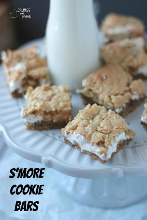 S'more Cookie Bars by Crumbs and Chaos on www.shugarysweets.com