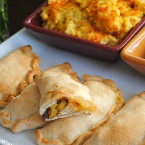 Easy Baked Empanada with Cheesy Saffron Rice