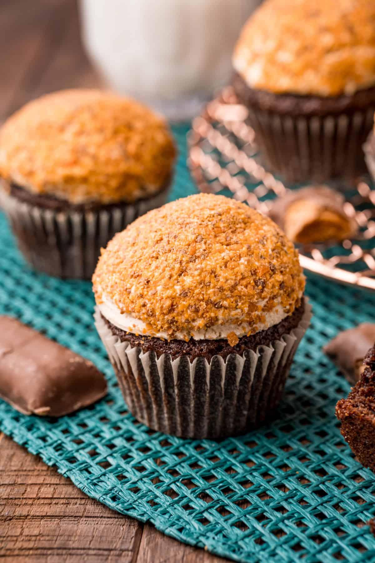 Disney copycat peanut butter butterfinger crunch cupcake.