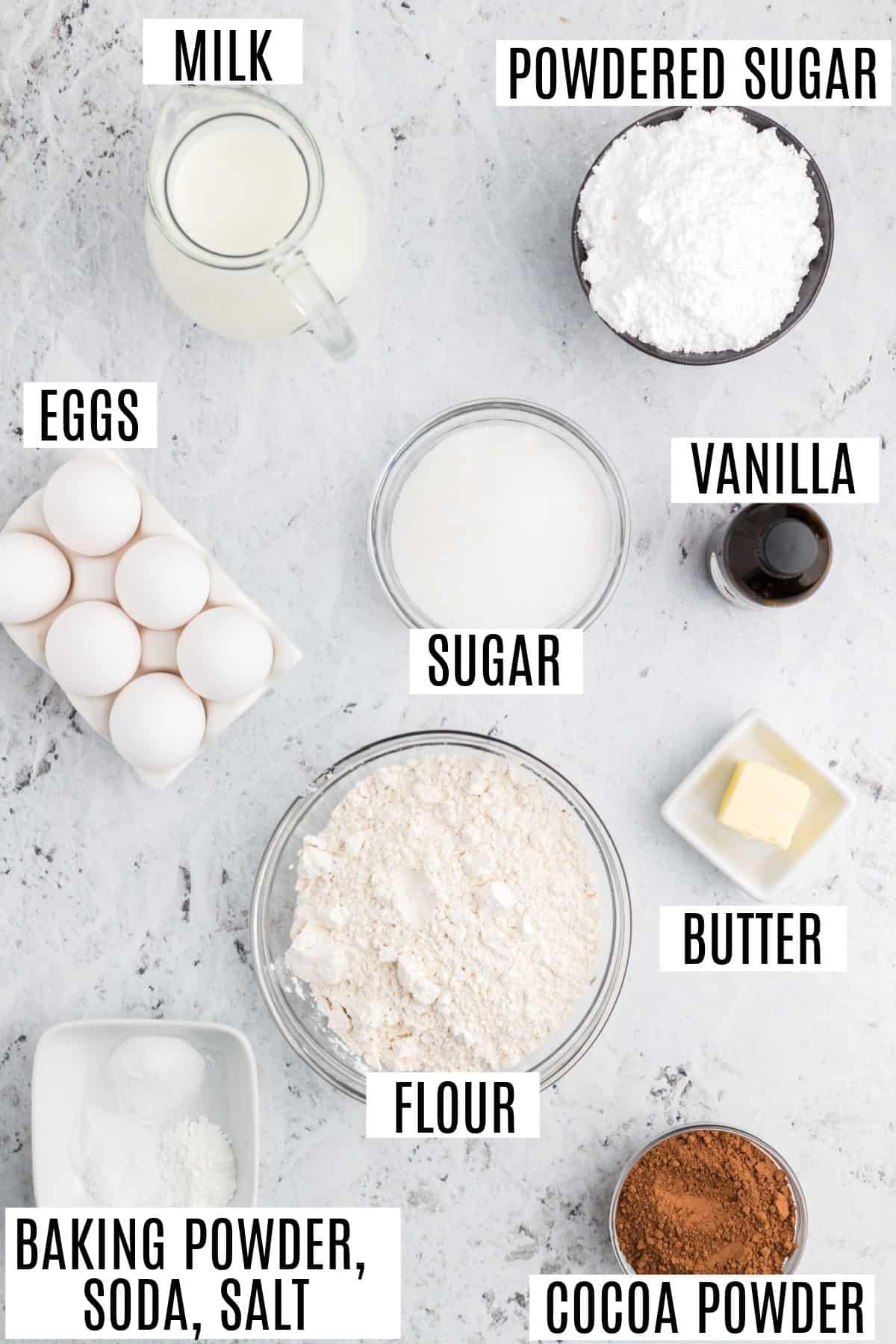 Ingredients needed to make chocolate glazed donut holes.