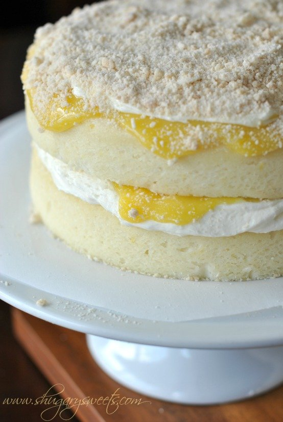 Lemon Cake with Lemon Curd, creamy frosting and crumb topping