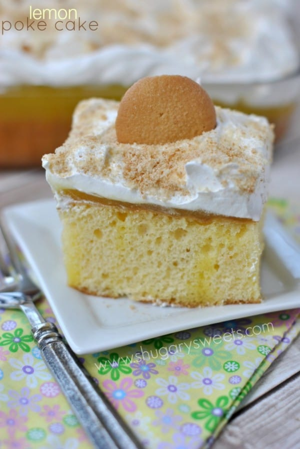 Lemon Poke Cake: delicious, easy poke cake recipe with Lemon JELL-O and homemade lemon curd!