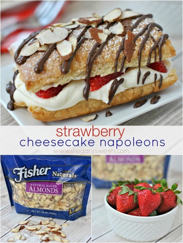 Strawberry Cheesecake Napoleons: easy, delicious dessert with a no bake cheesecake filling and topped with sliced almonds #thinkfisher