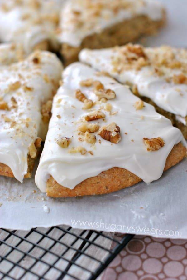 Frosted Banana Nut Scones: paired with a hot cup of coffee, these are a perfect breakfast!